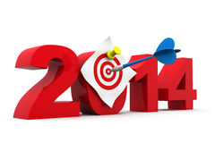 2014 with dartboard Royalty Free Stock Photo