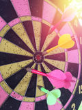 Dartboard is the target and Dart is an opportunity blur on succe Royalty Free Stock Photo
