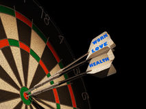 Dartboard with three darts in center target. Dartboard with three darts in center target, with the types Health, Love and Work Stock Images