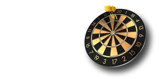 Dartboard with three darts in triple twenty isolated on white stock images