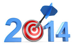 2014 with dartboard. On white background Stock Photography