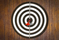 Dartboard on wood wall (Darts Hit Target) Stock Images