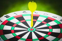 Dartboard and yellow. Dart on grass background Stock Images