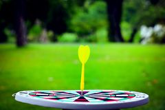 Dartboard and yellow. Dart on grass background Stock Photo