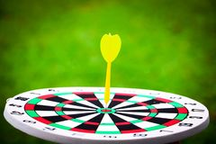 Dartboard and yellow. Dart on grass background Stock Photography