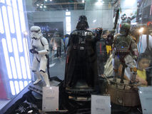 Darth Vader, Boba Fett & Stormtrooperdiagram i Ani-Com & lekar Hong Kong 2015 arkivbilder