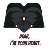 Darth Vader. Illustration of black helmet of villain as a valentine heart with funny quote under Stock Image