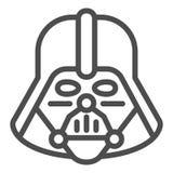 Darth Vader linje symbol Star Wars vektorillustration som isoleras på vit Design för stil för utrymmeteckenöversikt som planläggs vektor illustrationer