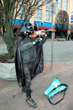 Darth Vader performing on violin. stock photography