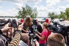 Darth Vader runs for Kiev major elections. Royalty Free Stock Photography