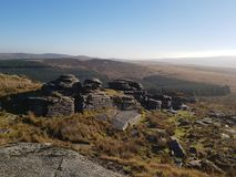 Dartmoor看法从上流的 图库摄影