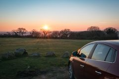 Dartmoor drive at sunset royalty free stock image