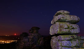 Dartmoor Great Staple Tor. Various shots at Staple Tor on Dartmoor National Park at night with stars, in Devon UK Royalty Free Stock Image