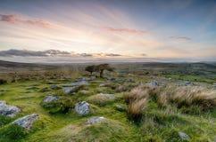 Dartmoor National Park. Clouy sunset from Combestone Tor near Yelverton on Dartmoor in Devon royalty free stock images