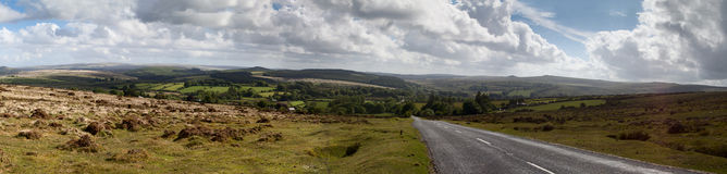 Dartmoor Panorama. Panorama of Dartmoor taken on a summers day showing the centre of the moor near the village of Postbridge Royalty Free Stock Image
