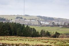 Dartmoor Prison viewed across the fields. Distant view of Dartmoor prison Princeton Dartmoor Royalty Free Stock Image