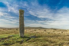 Dartmoor standing stone. A prehistoric standing stone on Dartmoor national park Stock Images