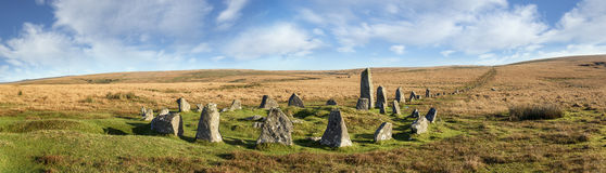 Dartmoor Stone Circle at Down Tor stock photography