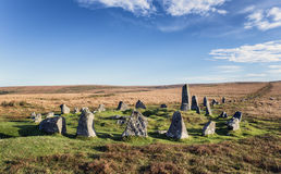 Dartmoor Stone Circle at Down Tor Royalty Free Stock Photos
