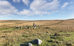 Dartmoor Stone Circle at Down Tor Stock Image