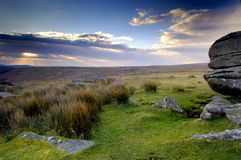 Dartmoor sunrise stock image