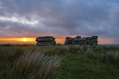 Dartmoor Tor at Sunset Royalty Free Stock Images