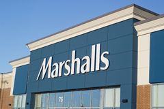 Marshalls Store Sign. DARTMOUTH, CANADA - MAY 24, 2018: Marshalls is an American chain of department stores owned by TJX. Marshalls has more than 750 stores in Stock Photos
