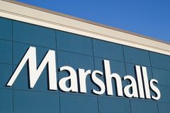 Marshalls Store Sign. DARTMOUTH, CANADA - MAY 24, 2018: Marshalls is an American chain of department stores owned by TJX. Marshalls has more than 750 stores in Stock Photography