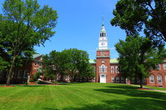 Dartmouth College. Baker Library Building on blue sky day, Hanover, New Hampshire United States stock image