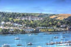 Dartmouth Devon England en stupéfiant la mer et le ciel bleus de HDR Photos libres de droits
