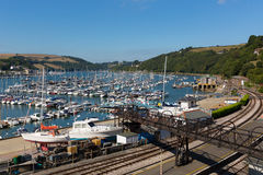 Dartmouth Devon England UK during the summer heatwave of 2013. Dartmouth Marina Devon England UK boats and yachts on the river with blue sky during the summer Royalty Free Stock Image