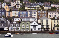 Dartmouth, Devon. Houses stacked up the hillside at Dartmouth, Devon, England stock photos
