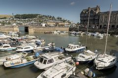 Dartmouth Harbour Devon UK. Really a basin for small boats and pleasure craft accessible when the tide is in as it is on a tidal part of the river Dart. There royalty free stock photo