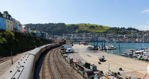 Dartmouth and Kingswear railway station by marina Devon England by River Dart Royalty Free Stock Image