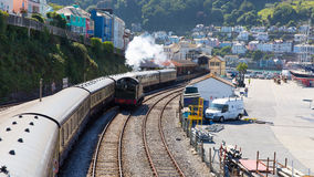 Dartmouth and Kingswear train station by marina Devon England by River Dart Stock Photo