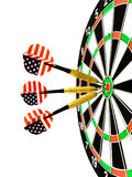 Darts. Arrows in the center of dartboard Royalty Free Stock Photo