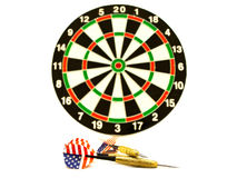Darts. Arrows in front of the dartboard Stock Photo
