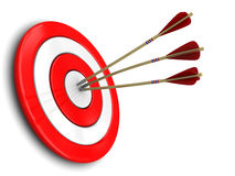 Darts. 3d illustration of three darts in target center, over white background Royalty Free Stock Photos
