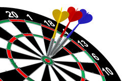 Darts. With arrow over white backgrounds Stock Photos