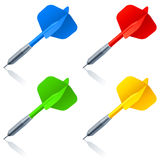Darts. Set of 4 color darts Royalty Free Stock Images