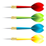 Darts. With different colors over white background Stock Image