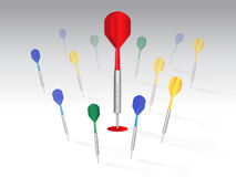 Darts. Be accurate red dot Royalty Free Stock Photography