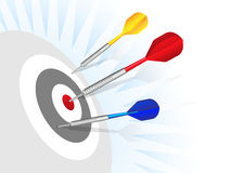 Darts. Be accurate red dot Stock Photos