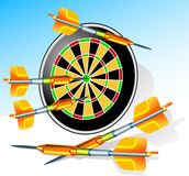 Darts. Game darts with round target and greater arrows, illustration Stock Photo