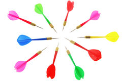 Darts. Arranged in Circle on White Background Stock Images