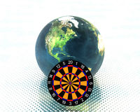 Darts. 3D earth with darts on dotted background Stock Image