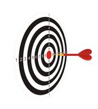 Darts with an arrow 2. The illustration representing the drawn black-and-white target with the red center for game in a darts on a white background. In the Stock Image