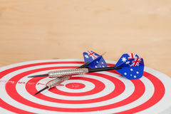 Darts arrow with Australia flags on red board , Stock Photos