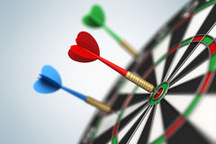 Darts arrow in bull's-eye. The darts arrow in bull's-eye Royalty Free Stock Photography