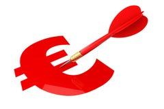 Darts Arrow with Euro Sign Target Stock Photos